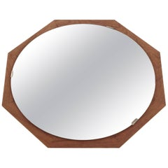 Swedish Round Mirror in Teak, 1950s
