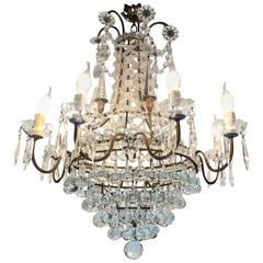 20th Century Italian Six-Light Crystal Bronze Chandelier from a Milanese Palazzo