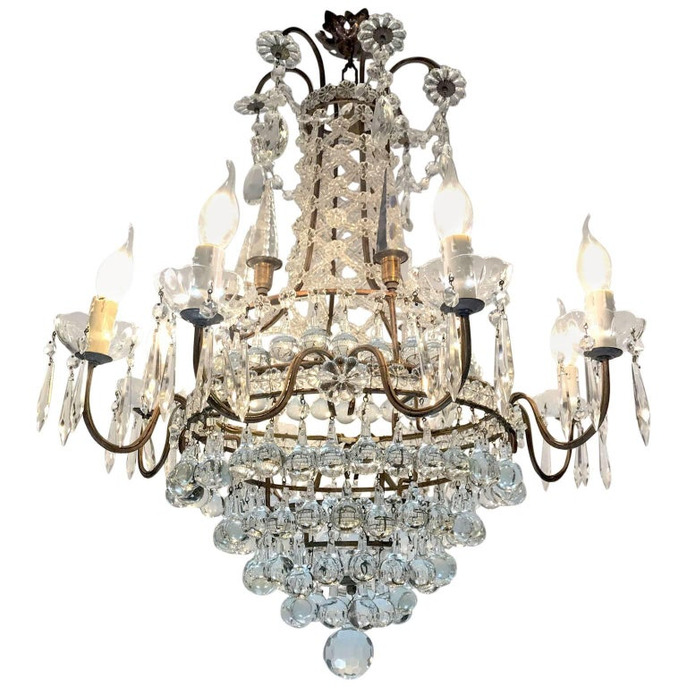 Italian Six-Light Crystal and Bronze Chandelier from a Milanese Palazzo