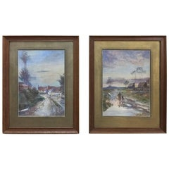 Pair of Antique Framed Watercolor Paintings by Julia Brubs, circa 1917