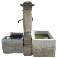 Ancient Garden Fountain Handcrafted in Stone with Two Farmer's Troughs, Provence