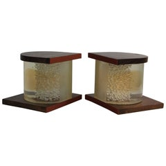 Pair of Lucite and Wood Bookends