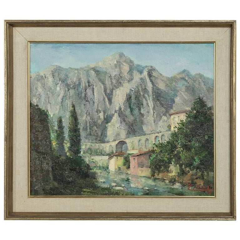 Mid-Century Oil Painting on Canvas by Joseph Tilleux (1896-1978 )