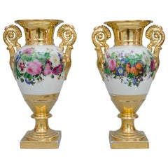 Mid-19th Century Large Pair of Egg Shaped Vases with Garlands of Flowers, Paris