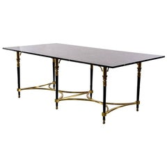 Italian Directoire Style Table with Black Marble Top and Brass Base