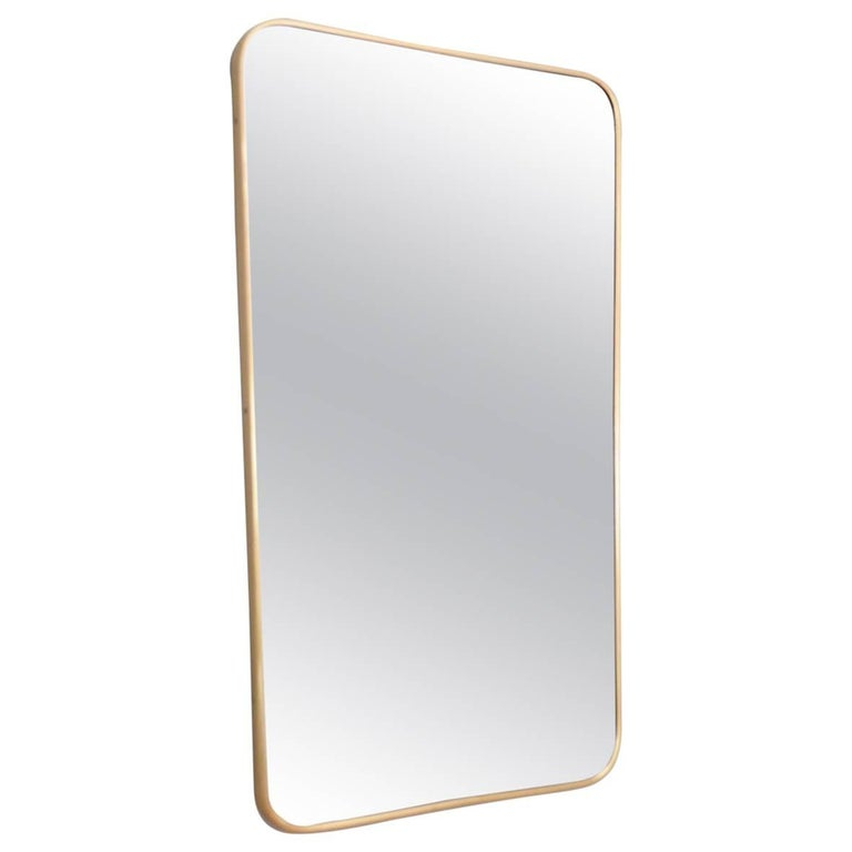 Italian Midcentury Wall Mirror with Brass Frame by Santambrogio De Berti, 1950s