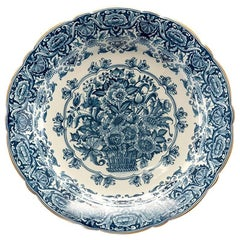 Large Round Delft Blue and White Floral Platter