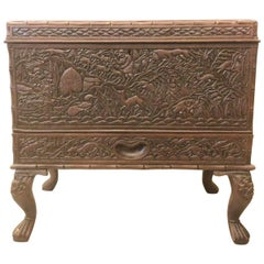 Late 19th Century, Fine Sandalwood Casket Resting on Four Legs
