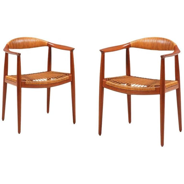 """Pair of Hans J. Wegner """"Round"""" Caned Armchairs for Johannes Hansen"""