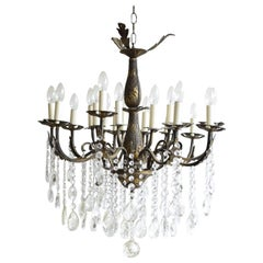 Early 1900s French Brass Chandelier with Sixteen Lamps