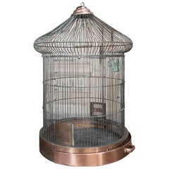 19th Century  French Wire Copper and Steel Birdcage