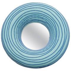 Ceramic Mirror with blue glaze decoration by Mia Jensen.