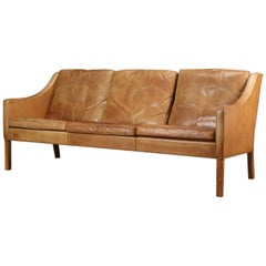 Original Borge Mogensen 2209 Sofa in Patinated Tan Leather, Denmark, 1960s-1970s