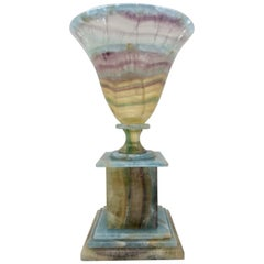 Handcrafted Multi Colored Fluorite and Blue Onyx Urn on Base, Made in Argentina