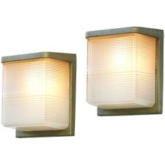 Large Pair of Wall Lights Sconces French Midcentury Holophane Glass Flush Mount