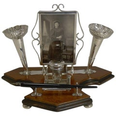 Antique English Inkwell with Photograph Frame and Posy Vases