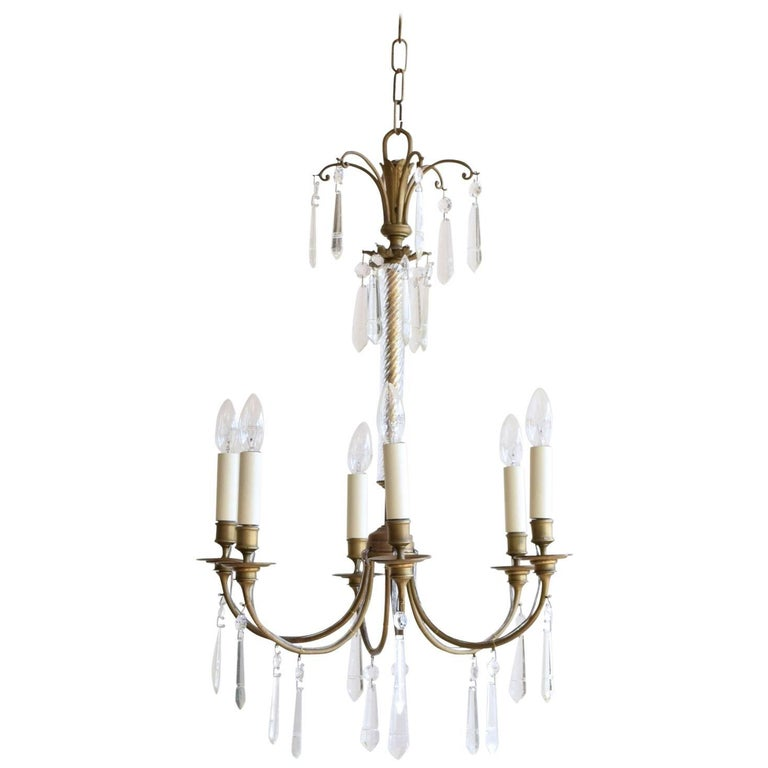 Early 1900s swedish chandelier with waterford crystal drops for sale early 1900s swedish chandelier with waterford crystal drops for sale aloadofball Images