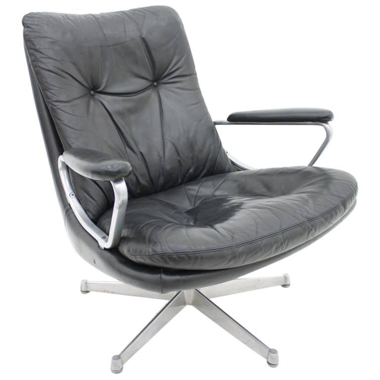 Black Leather Lounge Chair by Andre Vandenbeuck for Strässle Switzerland, 1960s