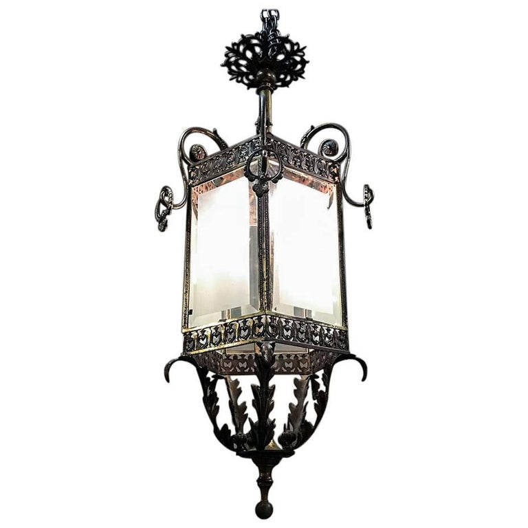 19th Century French Bronze Baroque Revival Lantern Chandelier