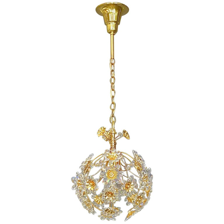 Exceptional Palwa Gilt Brass Crystal Glass Flower Ball Chandelier, circa 1960