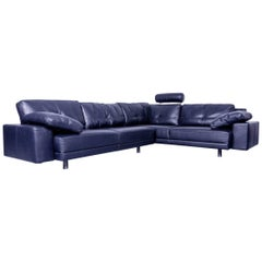 Brühl & Sippold Leather Corner Sofa Black Couch Neck Rest