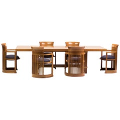 Cassina Taliesin Dining Table and Barrel Chairs Designed by Frank Lloyd Wright