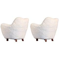 Rare Pair of Swedish Easy Chairs, 1950s