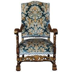 20th Century French Hand-Carved Beechwood Throne Armchair