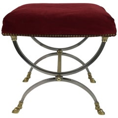 Neoclassical Style Stool in Brushed Steel and Bronze and Brass by Maison Jansen