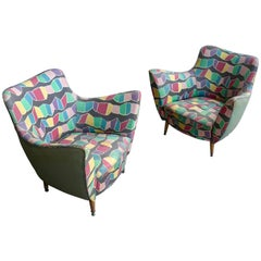 Pair of Multicolored Guglielmo Veronesi Armchairs in Original Upholstery