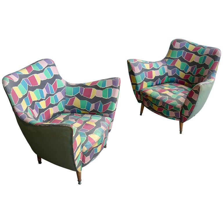Pair of Multicolored Guglielmo Veronesi Armchairs in Original Upholstery