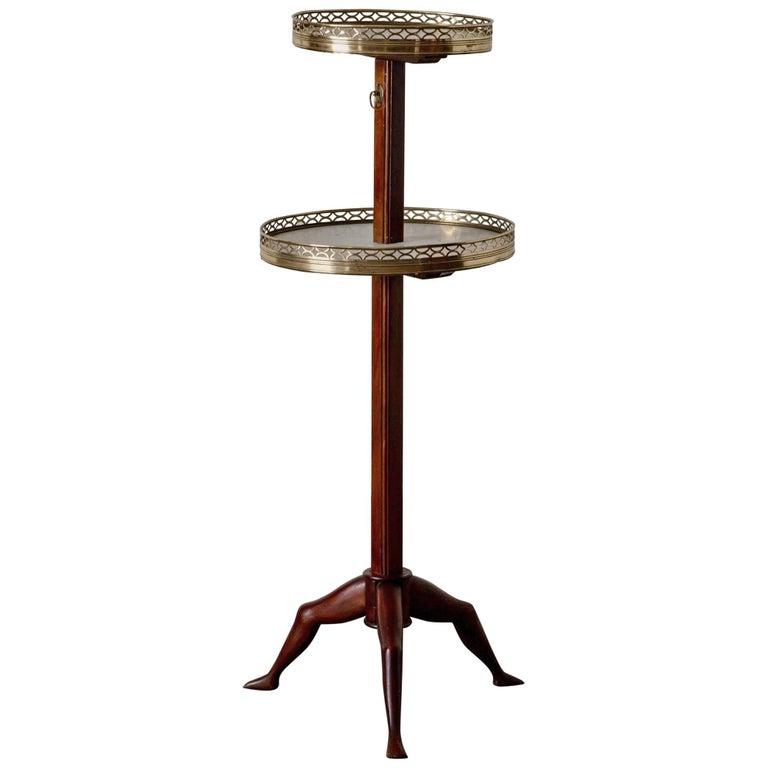 Table Tier English Mahogany Brass Marble 19th Century England