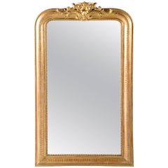 19th Century Tall Louis Philippe Gilt Mirror with Crest