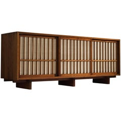 George Nakashima Credenza in American Walnut and Pandanus Cloth