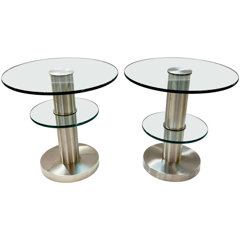 Gio Ponti 1990s Fontana Arte Pair of Clear Glass and Nickel Round Side Tables For Sale
