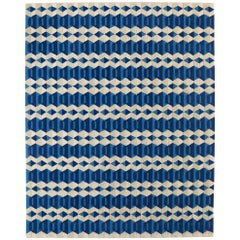 Angela Adams Garbo, Blue Area Rug, 100% New Zealand Wool, Handcrafted, Modern