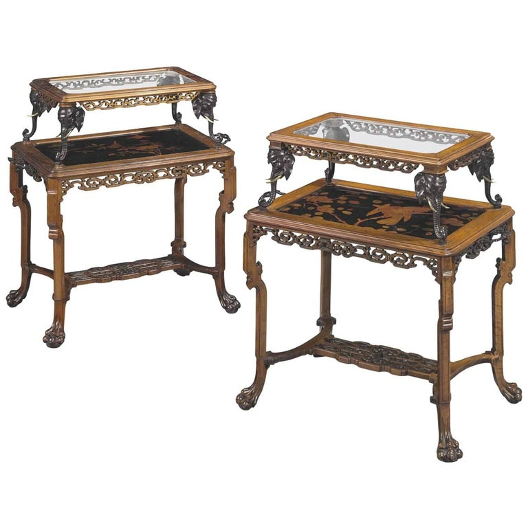 Pair of French Japonisme Bronze, Lacquer, & Hardwood Etageres Tea Tables Chinese