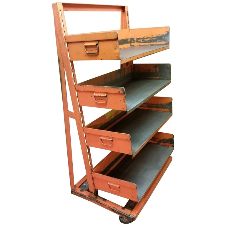 Factory Storage Bookcase Bookshelf Cart Orange Steel A Frame On Wheels 7 Avail