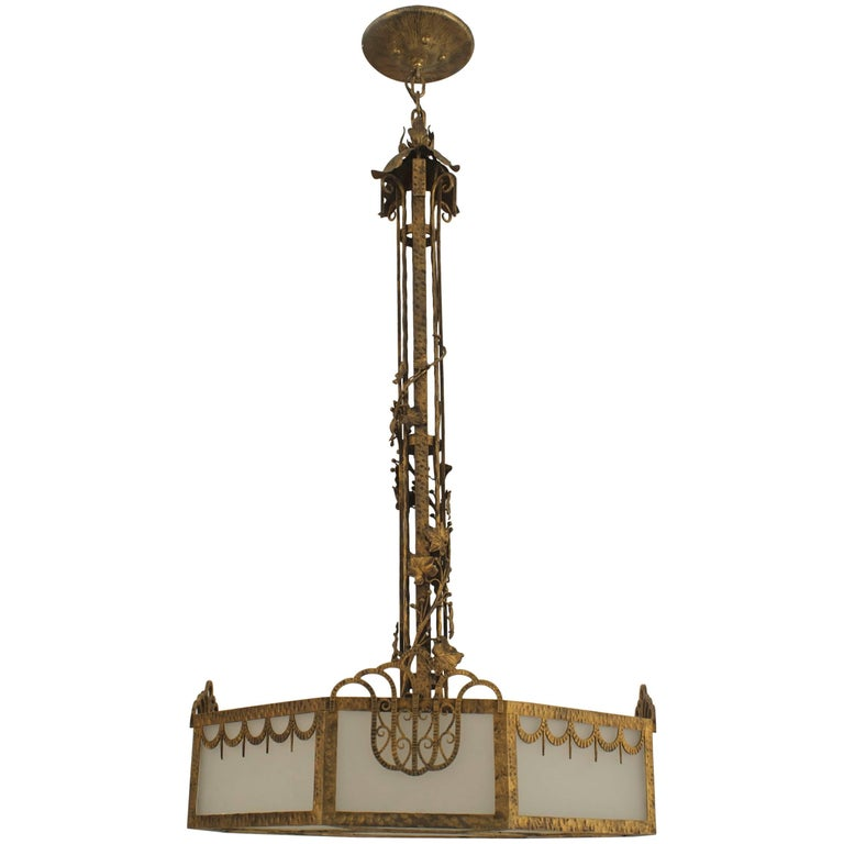 French Art Deco Eight Sided Chandelier For Sale