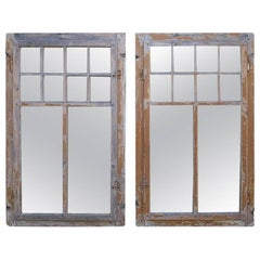 Pair of Two Early 20th Century Architectural Window Mirrors