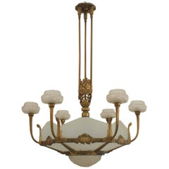 1925 French Art Deco Gilded Chandelier by Genet & Michon
