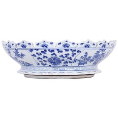 Scalloped Chinese Export Style Blue and White Bowl