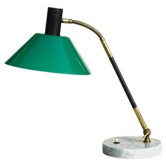 1950s Design Stilux Milano Green Perspex Brass Marble Table Lamp