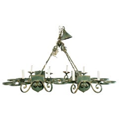 French Rectangular Green Metal Eight Light Chandelier