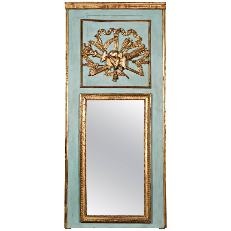 Louis XVI Period Painted and Parcel-Gilt Marriage Trumeau Mirror