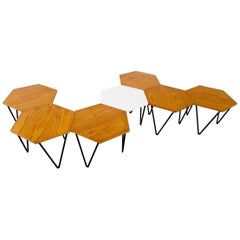 Gio Ponti Set of Seven Modular Coffee Tables for I.S.A., Italy, circa 1950