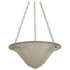 French Art Deco circa 1925 Etched Palm and Leaf Pendant Glass Chandelier