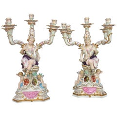 Mid-19th Century Dresden Pair of Large Figurative Candlesticks, after Meissen