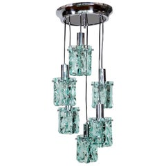 Italian Chrome and Crystal Glass Cascade Pendant with Six Lights, 1960s