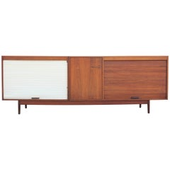 Modern Monumental Jens Risom Two-Tone Tambour Door Walnut Sideboard or Credenza